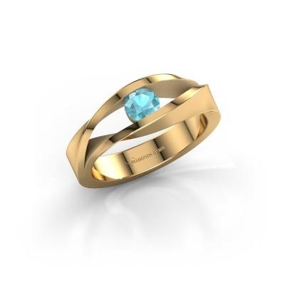 Foto van Ring Ruthanne 585 goud blauw topaas 4.2 mm