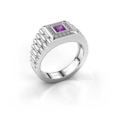 Foto van Rolex stijl ring Zilan 950 platina amethist 4 mm