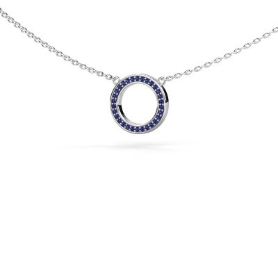 Picture of Pendant Round 1 375 white gold sapphire 0.8 mm