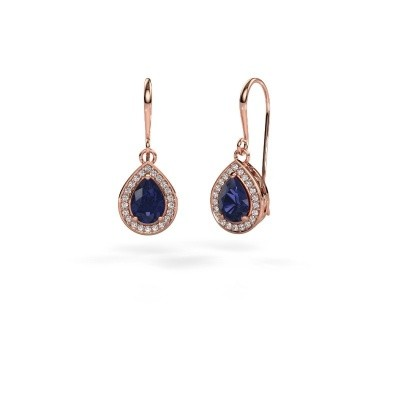 Picture of Drop earrings Beverlee 1 375 rose gold sapphire 7x5 mm
