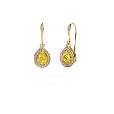 Picture of Drop earrings Beverlee 2 750 gold yellow sapphire 7x5 mm