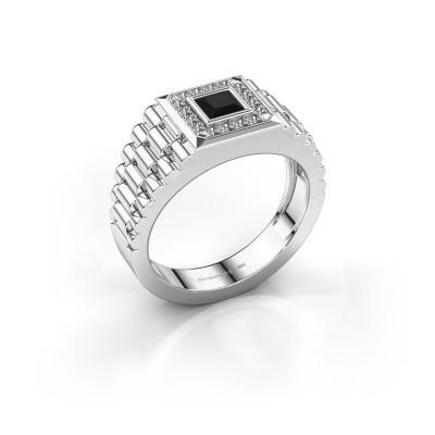 Foto van Rolex stijl ring Zilan 585 witgoud zwarte diamant 0.672 crt