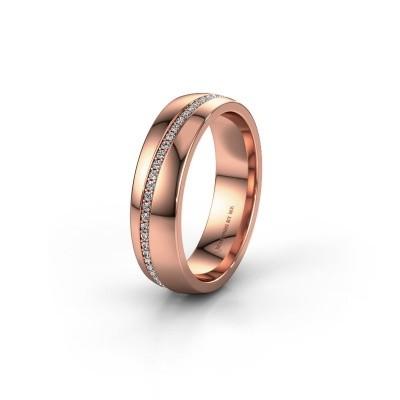 Trouwring WH0109L25A 585 rosé goud zirkonia ±5x1.7 mm