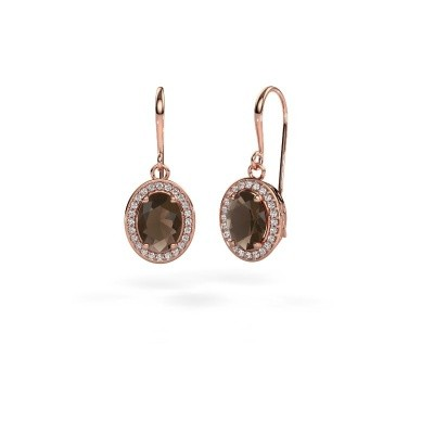 Picture of Drop earrings Latesha 375 rose gold smokey quartz 8x6 mm