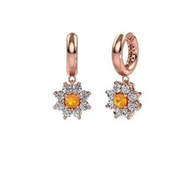 Picture of Drop earrings Geneva 1 375 rose gold citrin 4.5 mm