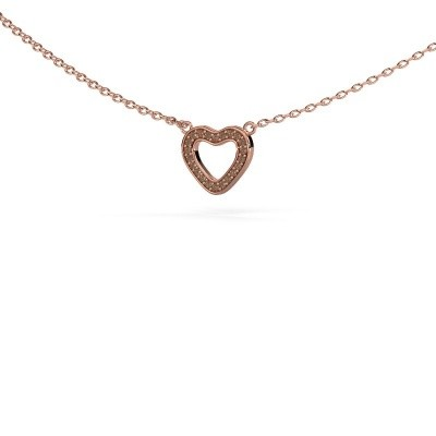 Picture of Pendant Heart 4 375 rose gold brown diamond 0.055 crt