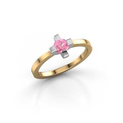 Foto van Ring Therese 585 goud roze saffier 4.2 mm