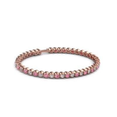 Foto van Tennisarmband Asley 750 rosé goud roze saffier 3 mm