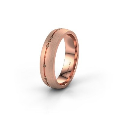 Trouwring WH0166L25A 585 rosé goud bruine diamant ±5x1.7 mm