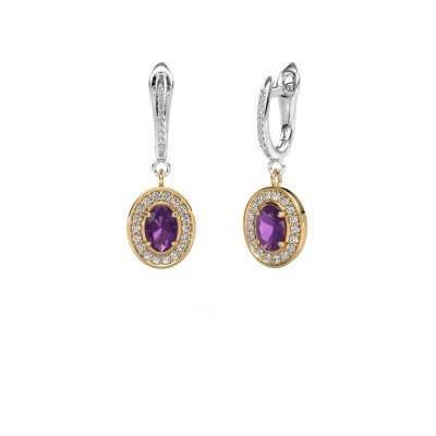Picture of Drop earrings Layne 2 585 gold amethyst 7x5 mm