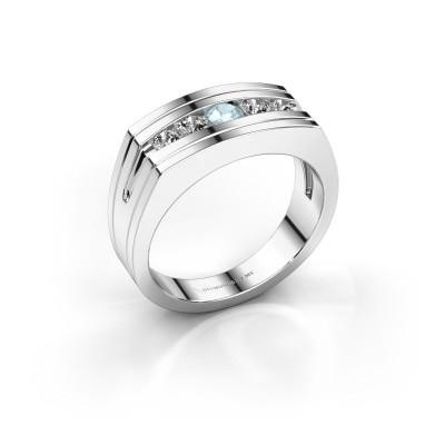 Foto van Heren ring Huub 950 platina aquamarijn 3.7 mm