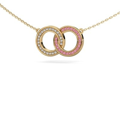 Picture of Necklace Circles 1 585 gold pink sapphire 1 mm