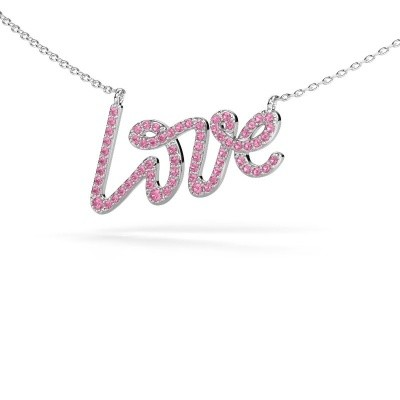 Picture of Pendant Love 585 white gold pink sapphire 1 mm