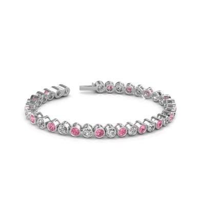 Foto van Tennisarmband Allegra 585 witgoud roze saffier 4 mm