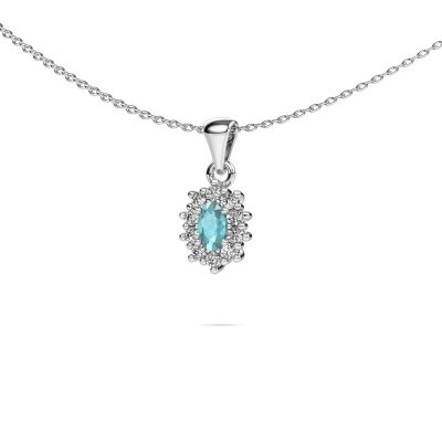 Picture of Necklace Leesa 925 silver blue topaz 6x4 mm