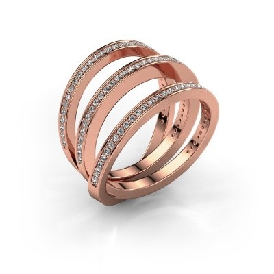 Foto van Ring Jaqueline 375 rosé goud zirkonia 1 mm