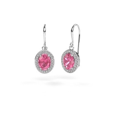 Picture of Drop earrings Latesha 375 white gold pink sapphire 8x6 mm