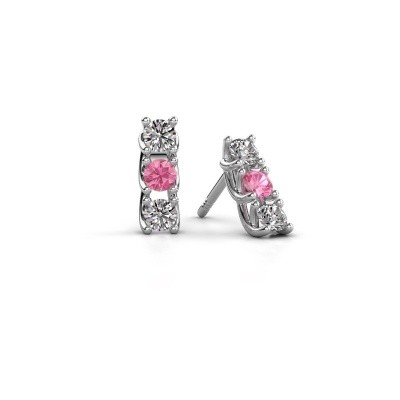 Picture of Earrings Fenna 925 silver pink sapphire 3 mm