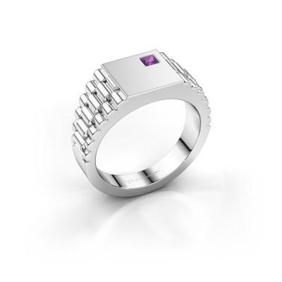 Foto van Rolex stijl ring Pelle 585 witgoud amethist 3 mm