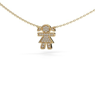 Picture of Necklace Girl 585 gold zirconia 1 mm