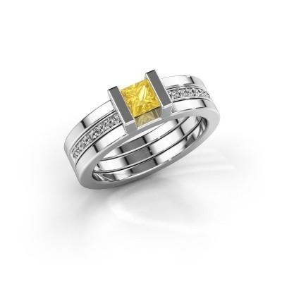 Foto van Ring Desire 925 zilver gele saffier 4 mm