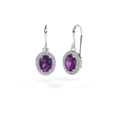 Picture of Drop earrings Latesha 950 platinum amethyst 8x6 mm