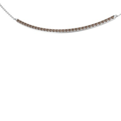 Picture of Bar necklace Simona 585 white gold brown diamond 0.48 crt