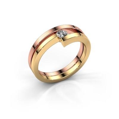 Foto van Ring Nikia 585 rosé goud diamant 0.15 crt