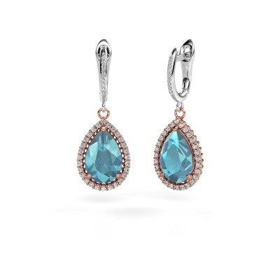 Picture of Drop earrings Hana 2 585 rose gold blue topaz 12x8 mm