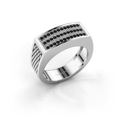 Foto van Heren ring Erwin 925 zilver zwarte diamant 0.489 crt