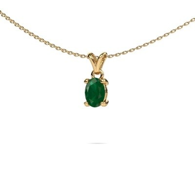 Picture of Necklace Lucy 1 375 gold emerald 7x5 mm