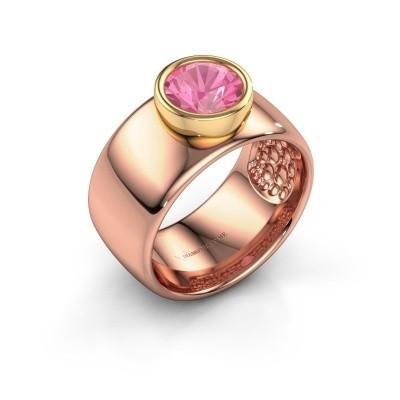Foto van Ring Klarinda 585 rosé goud roze saffier 7 mm
