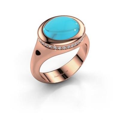 Foto van Ring Lesli ovl 585 rosé goud blauw topaas 12x10 mm