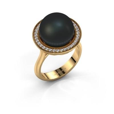 Foto van Ring Grisel 585 goud zwarte parel 12 mm