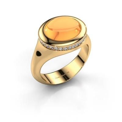 Foto van Ring Lesli ovl 375 goud citrien 12x10 mm