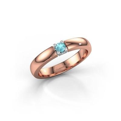 Foto van Verlovingsring Rianne 1 585 rosé goud blauw topaas 3 mm