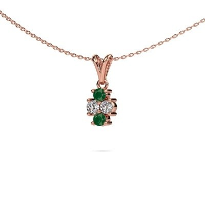 Picture of Necklace Richelle 585 rose gold emerald 3 mm