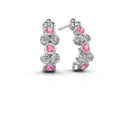 Picture of Earrings Kayleigh 925 silver pink sapphire 2.4 mm