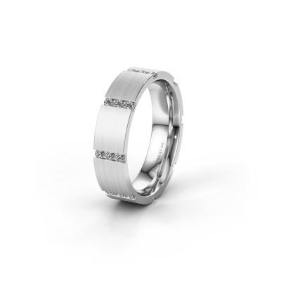 Trouwring WH0135L15BM 585 witgoud diamant ±5x2 mm