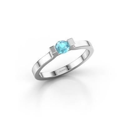 Foto van Verlovingsring Jodee 585 witgoud blauw topaas 4 mm
