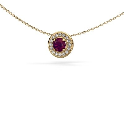 Picture of Pendant Agaat 585 gold rhodolite 5 mm