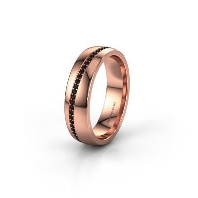 Trouwring WH0109L25A 585 rosé goud zwarte diamant ±5x1.7 mm