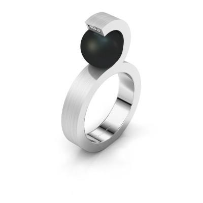 Foto van Ring Juana 950 platina zwarte parel 9 mm