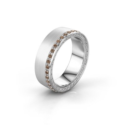 Trouwring WH2224L26C8 585 witgoud bruine diamant 0.54 crt ±6x2.2 mm