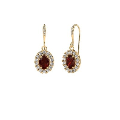Picture of Drop earrings Jorinda 2 585 gold garnet 7x5 mm