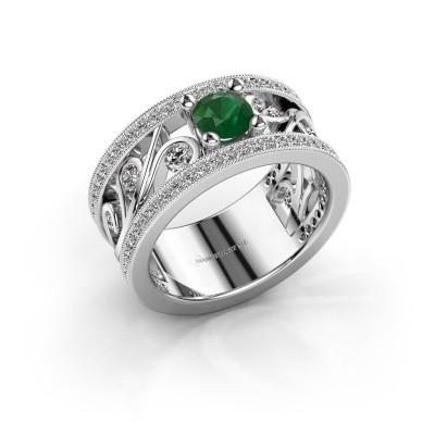 Foto van Ring Sanne 585 witgoud smaragd 5 mm