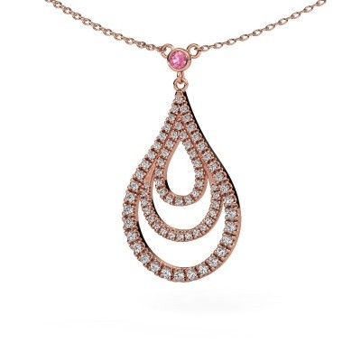 Picture of Pendant Delpha 375 rose gold pink sapphire 1.4 mm