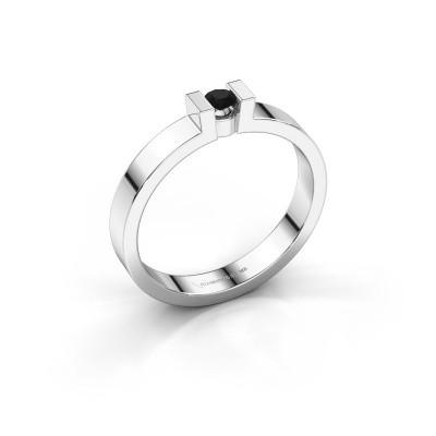 Foto van Verlovingsring Lieve 1 585 witgoud zwarte diamant 0.12 crt