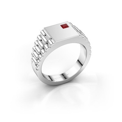 Foto van Rolex stijl ring Pelle 950 platina robijn 3 mm