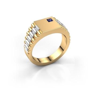 Foto van Rolex stijl ring Pelle 585 goud saffier 3 mm